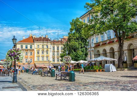 Lviv Ukraine - August 3 2015: The corner of Rynok Square and view of City Hall in Lviv, Ukraine