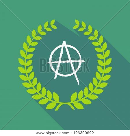 Long Shadow Laurel Wreath Icon With An Anarchy Sign