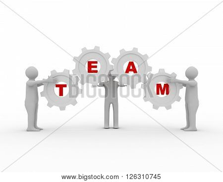 Teamwork concept with gears on white bacground
