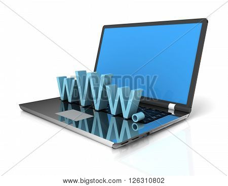 3d Laptop showing www on white background