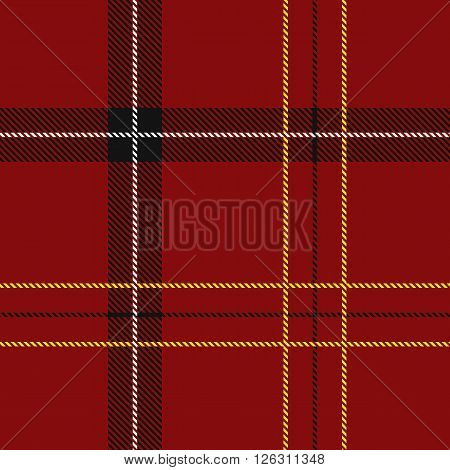 Red Tartan Seamless Pattern Vector Illustration (red black white and yellow)