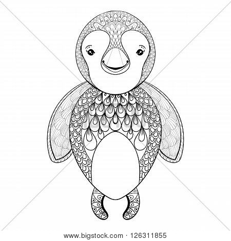 Vector pinguin for adult coloring page. Hand drawn funny pinguin kids for t-shirt print in zentangle style, tattoo design, ornamental animal logo. Patterned doodle with smiled happy pinguin.