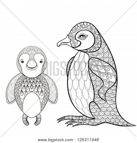 Vector pinguin set for adult coloring page. Hand drawn cute pinguin mother with child for t-shirt print in zentangle style, tattoo design, ornamental animal logo. Patterned doodle with smiled happy pinguin.