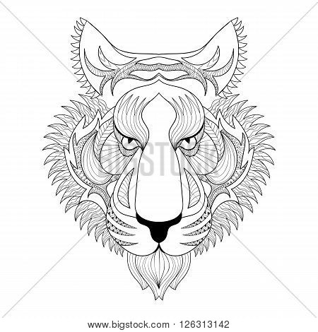 Vector Tiger. Zentangle Tiger face illustration, Tiger head print for adult anti stress coloring page. Hand drawn artistically ornamental patterned decorative animal for tattoo, boho design