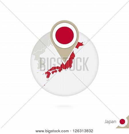 Japan Map And Flag In Circle. Map Of Japan, Japan Flag Pin. Map Of Japan In The Style Of The Globe.