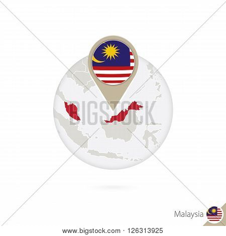 Malaysia Map And Flag In Circle. Map Of Malaysia, Malaysia Flag Pin. Map Of Malaysia In The Style Of