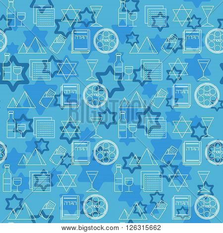 . Jewish holiday Passover symbols. Blue background. Vector illustration