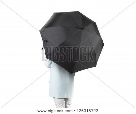Women stand backwards with black blank umbrella opened mock up isolated.