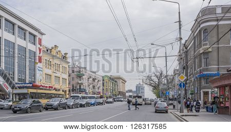 ROSTOV-ON-DON RUSSIA- APRIL 11- Along the avenue Budennovsky moving cars and pedestrians on April 11; 2016 in Rostov-on-Don