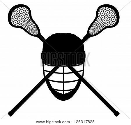 lacrosse equipment black outline silhouette vector illustration isolated on white background