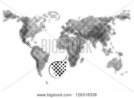 Grey dotted world vector map on white background geographic information outline framework. Vector political maps and atlas. Map scheme for design projects and presentations.