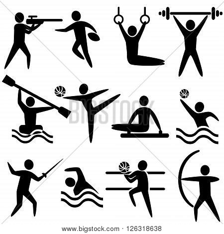 Set of sports icons: shooting rugby gymnastics American football power lifting kayaking canoeing barbell weightlifting water polo archery fencing swimming volleyball