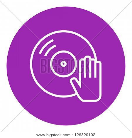 Disc with dj hand line icon.