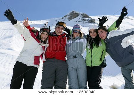 Group of teenagers in snow poster