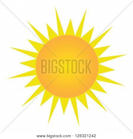 Sun with orange and yellow gradient with yellow sun light vector on isolated white background