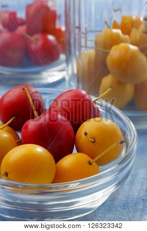 Still life with glass containers filled by yellow and red mirabelle plums