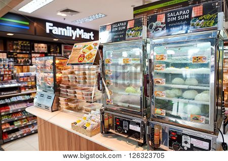 BANGKOK, THAILAND - JUNE 19, 2015: design of FamilyMart store inside of Suvarnabhumi Airport. FamilyMart is a Japanese convenience store franchise chain.