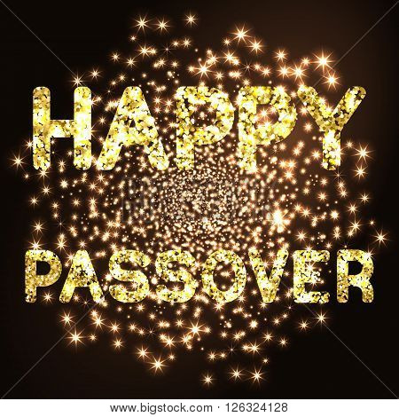 Happy Passover background. Happy Passover in hebrew. Golden letters on black background. Vector illustration.