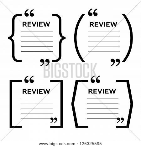 Website review quote citation blank template. Website review vector icon. Quote comment template. Quote bubble