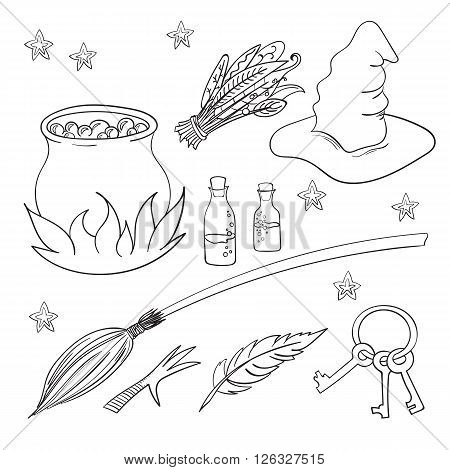 Contour set magician's objects, different elements, vector illustration