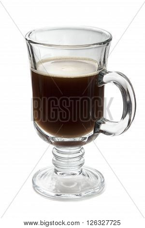 Glass of your favorite hot beverage - coffee tea mulled wine. On a white background glassware side view. A cup of black coffee for breakfast strong espresso.