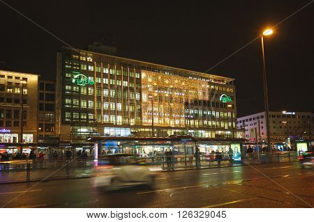 Munich Germany - January 07 2016: View of the Galeria shop on Sonnen street at night time
