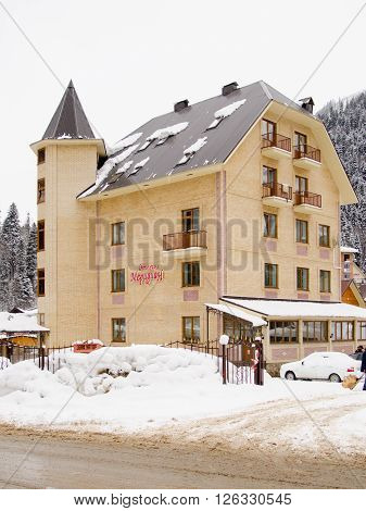"Dombay, Russia - February 7, 2015: The Hotel ""meridian"" Is Located In The Small Town Of Do"