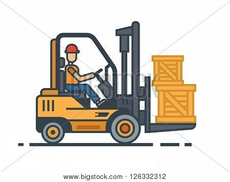 Forklift transporting boxes Industry cargo equipment, forklift and delivery, shipping and loader, operator working. Flat vector illustration