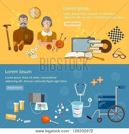Nursing home banners social care for the elderly retirement home