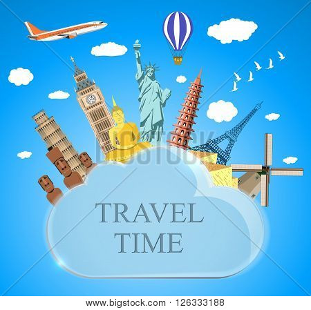 Trip to World. Travel to World. Vacation. Road trip. Tourism. Travel banner. cloud with landmarks. Journey. Travel and adventure template, travel time. vector illustration in flat design