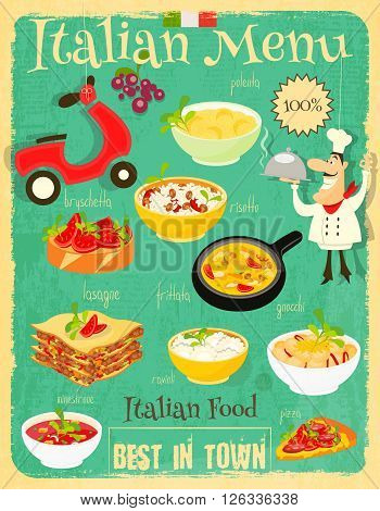 Italian Food Menu Card with Traditional Meal. Retro Vintage Design. Italian Cuisine. Food Collection. Vector Illustration.