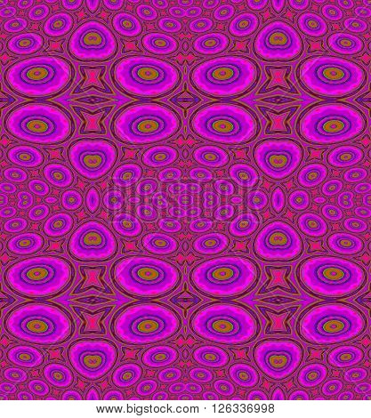 Abstract geometric seamless background. Various circles and ellipses pattern in violet and purple shades with olive green elements and outlines, luscious and ornate.