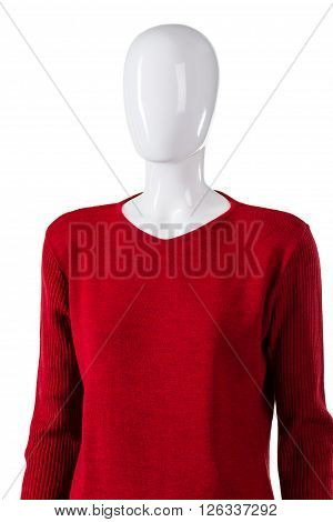 Red pullover with long sleeves. Mannequin wearing v-neck sweatshirt. Autumn top sold at discount. Casual sweater on store showcase.