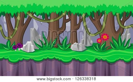 Seamless horizontal summer background with purple mushrooms and rocks for video game
