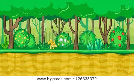 Seamless horizontal summer background with young trees and bushes with berries for video game