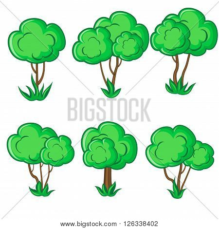 Set of six smooth young trees with grass isolated over white