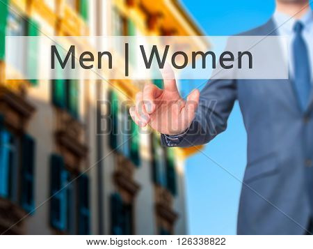 Men Women - Businessman Hand Pressing Button On Touch Screen Interface.