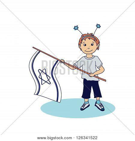 Boy holding the israeli flags. Vector illustration