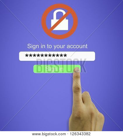 hand entering the wrong password for internet connection to access user account wrongly. All screen content is designed by us and not copyrighted by others and created with digitizing tablet and image editor