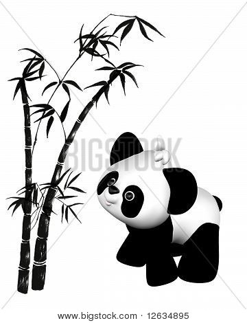 Cute toon style plush toy baby panda with bamboo illustration poster