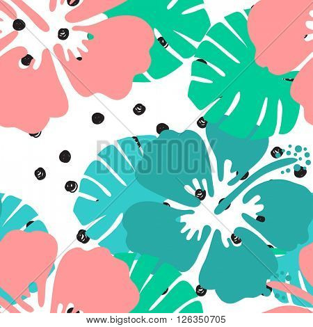 Seamless tropical floral pattern background. Hibiscus flower on black and white polka dot background, seamless pattern.