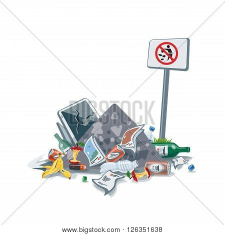 Vector illustration of littering waste pile that have been disposed improperly without consent at an inappropriate location near the No littering sign board. Trash is fallen on the ground and creates a big stack.