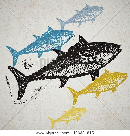 Vector Tuna fishes in abstract composition. Linocut fishes in different colors on the old paper