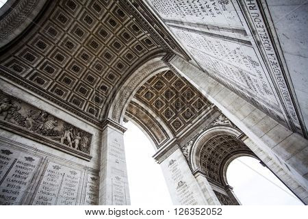 PARIS, FRANCE - MARCH 25, 2016: Close up details underneath the Arc de Triomphe in Paris