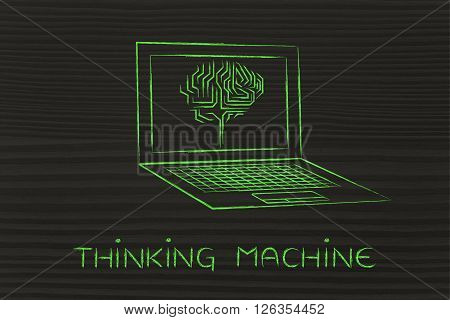 Laptop With Circuit Brain On Screen, Caption Thinking Machine