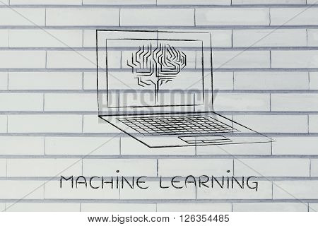 Laptop With Circuit Brain On Screen, Machine Learning