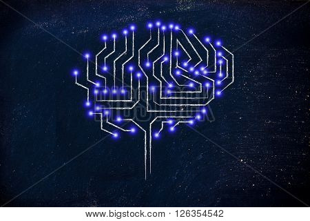 Microchip Circuit Brain With Led Lights