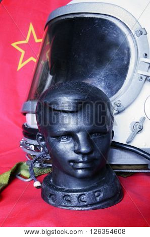 ILLUSTRATIVE EDITORIAL.Vintage Soviet table size metal sculpture of Yuri Gagarin.First man in Space.At April 6,2016 in Kiev, Ukraine