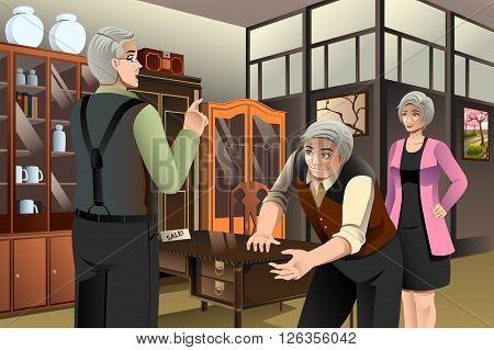 A vector illustration of mature couple buying antique furniture at the furniture store