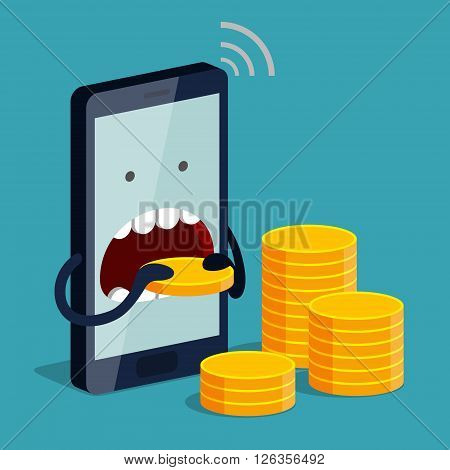 Phone is eating gold coin. Expensive payment of communication services and unremunerative rate concept